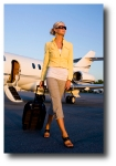 Lady walking from jet